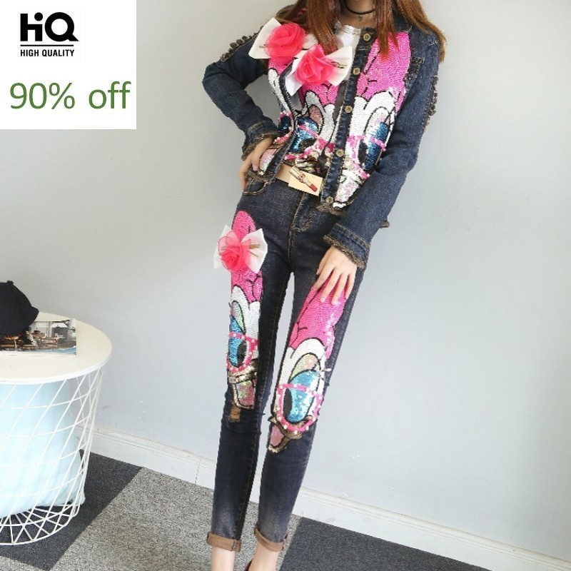 High Street Women Slim Fit Denim Two Piece Set Cartoon Sequins Bling Skinny Jeans Suits Short Jacket Hole Ripped Matching Sets