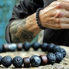 Мужской браслет из лавового камня, натуральная бусинка из лунного камня, браслет из тибетского Будды, чакра, рассеивающие браслеты, мужские ювелирные изделия, подарки, Прямая поставка