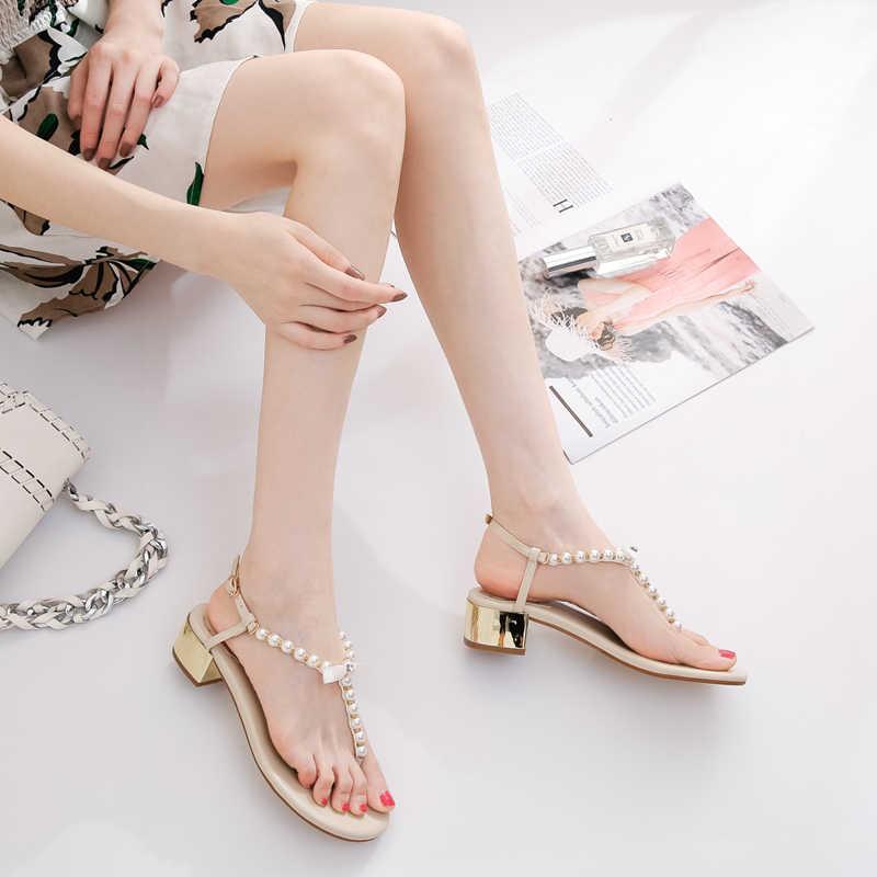 Đồng Hồ Nữ Giày Sandal 2020 Mới Phong Cách Mùa Hè Chia Mũi Ngọc Trai Chun Gót Trực Tuyến Nổi Tiếng Đa Năng Kiểu Lật Bán Cao gót Cổ Tích