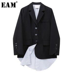 [Eam] feminino preto listrado irreegular tamanho grande blazer nova lapela manga longa solto ajuste jaqueta moda primavera outono 2020 1x153