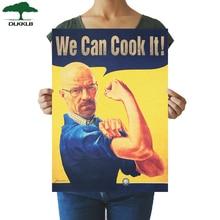 DLKKLB Breaking Bad Vintage Poster podemos cocinar divertido papel Kraft decoración del hogar pintura 51,5x36 cm dormitorio cocina pared pegatina