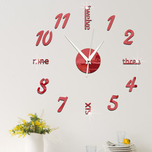 Funlife Creative clock acrylic mirror clock decorative mirror wall sticker living room Digital clock wc1465 funlife 3d diy moon stars clock acrylic mirror wall sticker