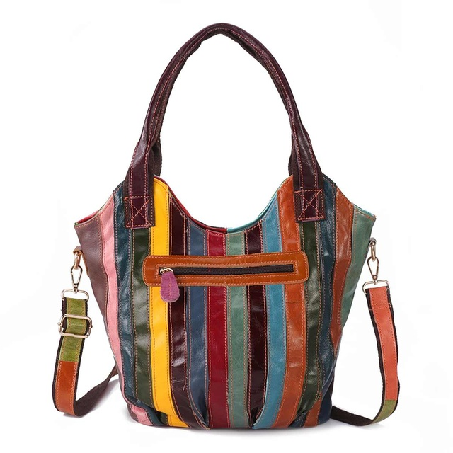 Γυναικεία δερμάτινη τσάντα πολύχρωμη patchwork vintage τσάντα ώμου totes crossbody
