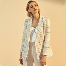 купить 2019 Fringe Tweed Jacket Women Elegant Runway Wool Blazer Striped Luxury Brand Designer Autumn Winter Ladies Woolen Coat Female по цене 6525.49 рублей