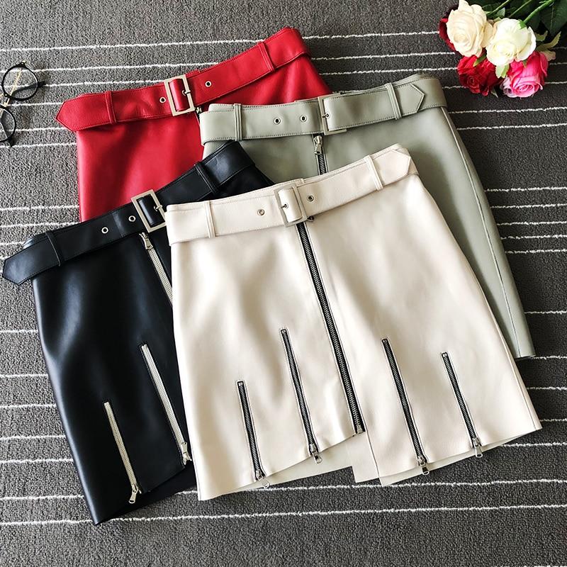 Europe style womens real leather skirts 2019 autumn high quality high-waist zipper skirt A819