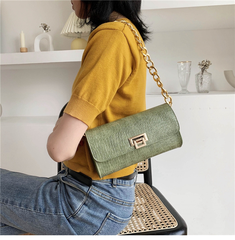 Crocodile Pattern Vintage Soild Color Small Square Bag For Women 2020 summer Handbag And Small Chain Bags Fashion Armpit Bag (11)