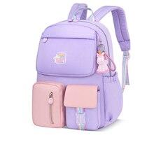 Cute Girls Schoolbag Rainbow Backpacks for Teenagers Girls Burden-reducing Backpack Kids Book Bags Travel Bag 2 Szies Gift