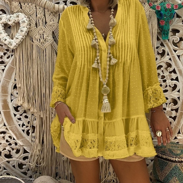 Lace Hollow Out Womens Tops And Blouses Summer Beach Style Plus Size Female Tunic Loose Long Sleeve Dot Baggy Blouses Shirt