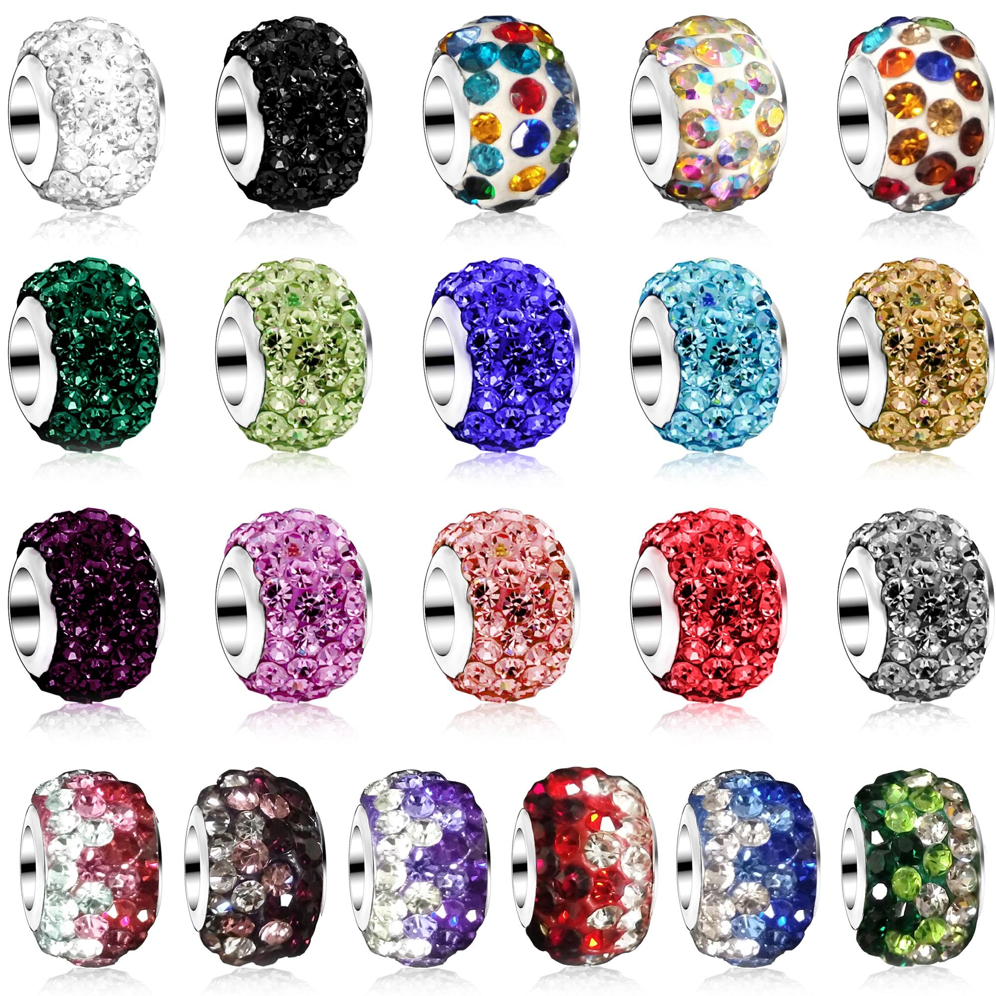 DINGLLY 2Pcs Multi-color brilliant little Crystal Beaded Fit Brands Charm Bracelet For Women Men DIY Bangle Original Jewelry(China)
