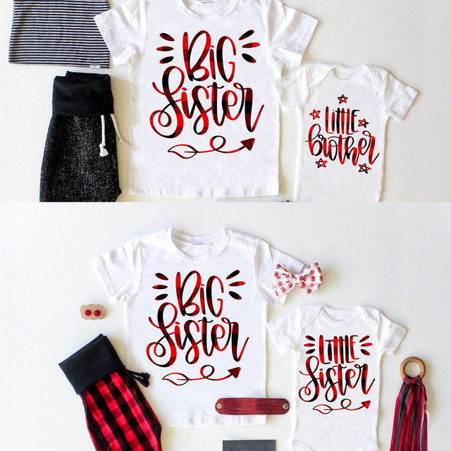 1pc Big Sister Little Brother Outfit Buffalo Plaid Big Sister Graphic T Shirt Little Sister Matching Set Family Look Clothes