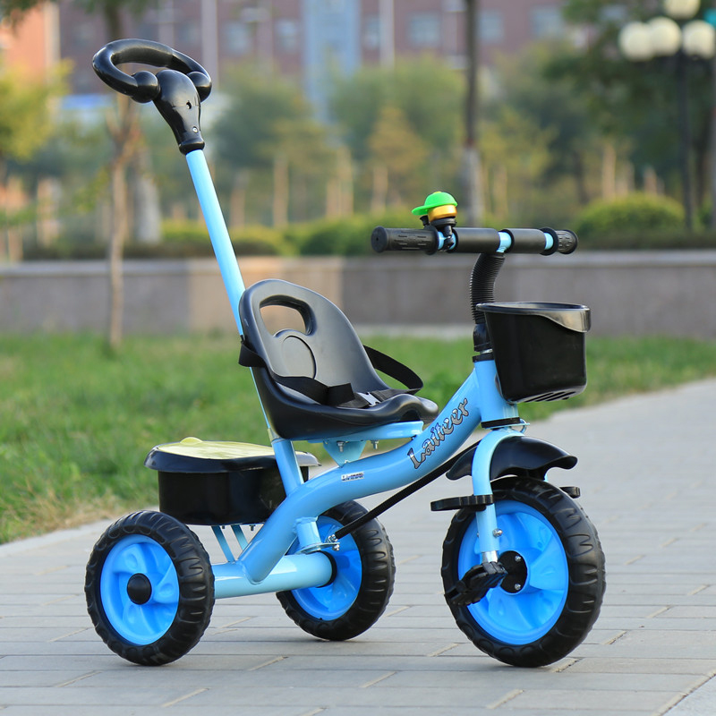 2 in 1 Kids Push Along Tricycle Baby Toddler Trike Bike 3 Wheel Ride On Toy Children Infant Stroller Parent Handle Comfort Seat