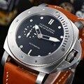 Parnis 47 мм автоматические механические часы для мужчин наручные чехол из нержавеющей стали кожаный ремешок водонепроницаемые светящиеся час...
