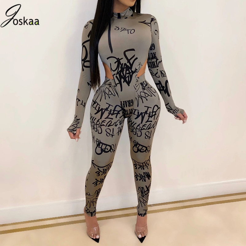 Joskaa Letter Print Tracksuit Bodysuits Pants Suit Two Piece Set Night Club Party Bandage Outfits Women Set Full Sleeve