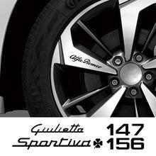 4 Uds. De calcomanías de llanta de rueda de coche, pegatinas de decoración para Alfa Romeo 159 Giulietta Giulia 147 156 Mito Stelvio GT Sportiva, accesorios