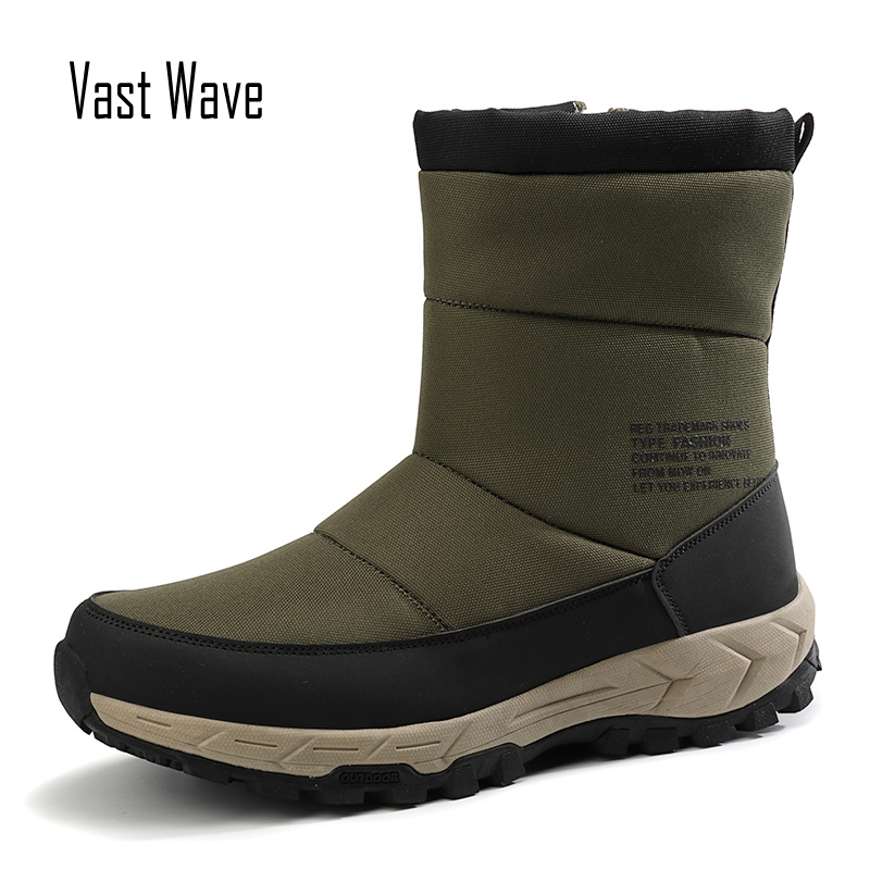 Vastwave Waterproof Design Man Winter Snow Boots For Men Shoes Adult Warm Short Plush Comfort Slip On Ankle Boots Footwear