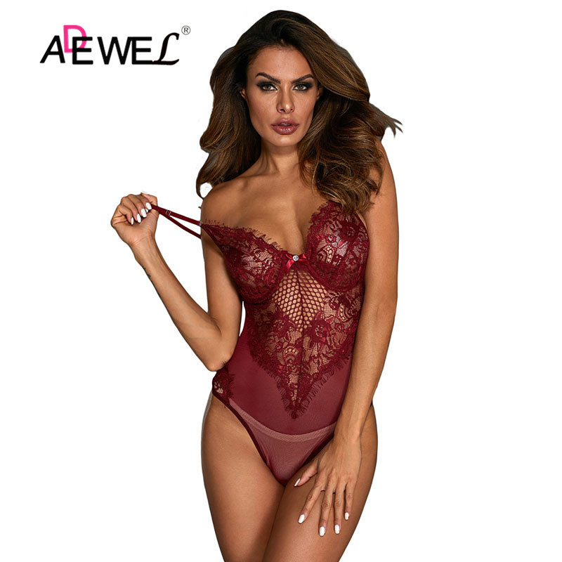 ADEWEL Nigth Club Sexy Women Bodysuits Lace Red Sheer Mesh Sheer Cupped Teddy Bedtime Skinny Slip Lady Bodies Leotard 2019