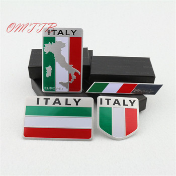 3D Aluminum Italy car Sticker Italy Flag Car-styling accessories Emblem stickers For chevrolet skoda honda Auto Badge Decal image
