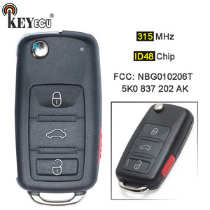 KEYECU 315MHz ID48 Chip NBG010206T 5K0 837 202 AK 3+1 4 Button Keyless-Go Flip Folding Remote Key Fob for Volkswagen 2011-2017