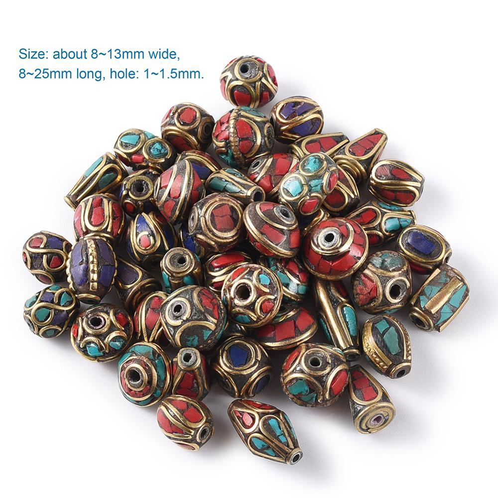 50Pcs Retro Nepal Beads Handmade <font><b>Red</b></font> <font><b>Coral</b></font> Tibetan Loose Bead For Jewelry Making DIY Bracelets Necklaces Antique Golden Color image