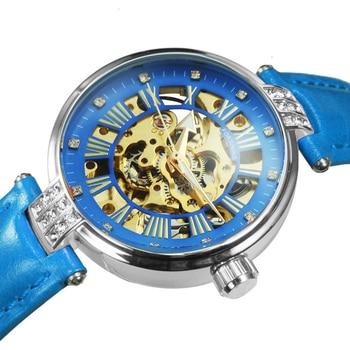 FORSINING New Fashion Vintage Mechanical Women Watches Top Brand Luxury Gold Skeleton Leather Strap Ladies Watch часы женские 4