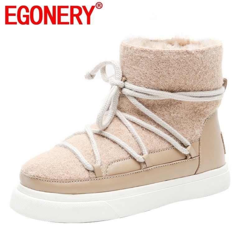 EGONERY sevimli yün kar botları 34-42 artı boyutu 2019 kış moda kadın flats ayakkabı pembe kayısı siyah yarım çizmeler dropshipping