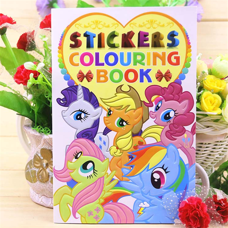 20x27CM 16 Page Pony Coloring Book Sticker Book Children Kids Books Adults Coloring Books Painting/Drawing/Art 2 Cover Patterns