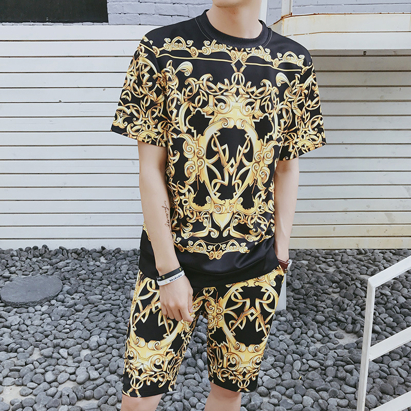 Summer 3D Printed Loose-Fit Shorts Short Sleeve T-shirt Suit Trend Men Korean-style Large Size Two-Piece Set