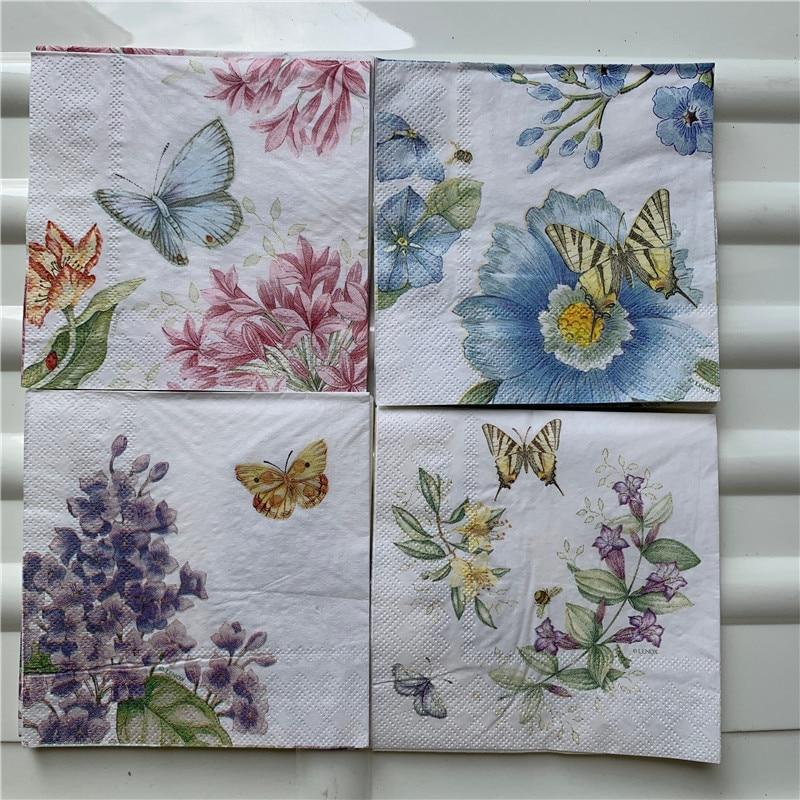 25cm Decoupage Paper Napkin Wedding Tissue Elegant Purple Blue Flower Butterfly Handkerchief Birthday Party Beautiful Serviettes