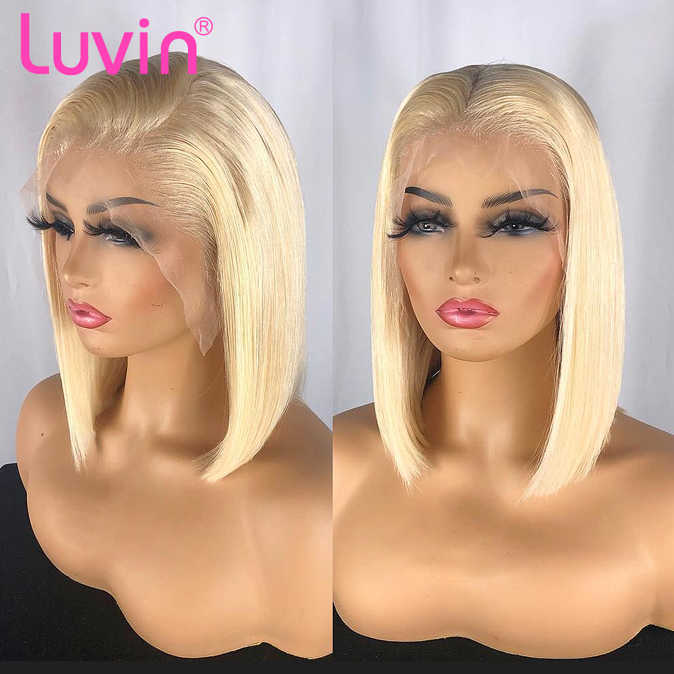 <font><b>Luvin</b></font> 613 blonde Lace Front Wigs for black women Straight Brazilian Human <font><b>Hair</b></font> Short Bob Ombre Lace Frontal Wig pre plucked image