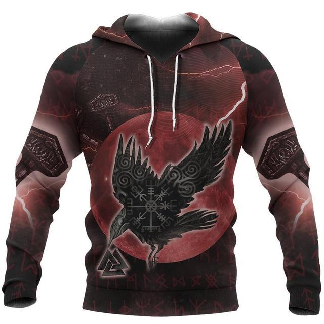 Купить viking пуловер с капюшоном ворон один рун 3d печатные мужские картинки цена
