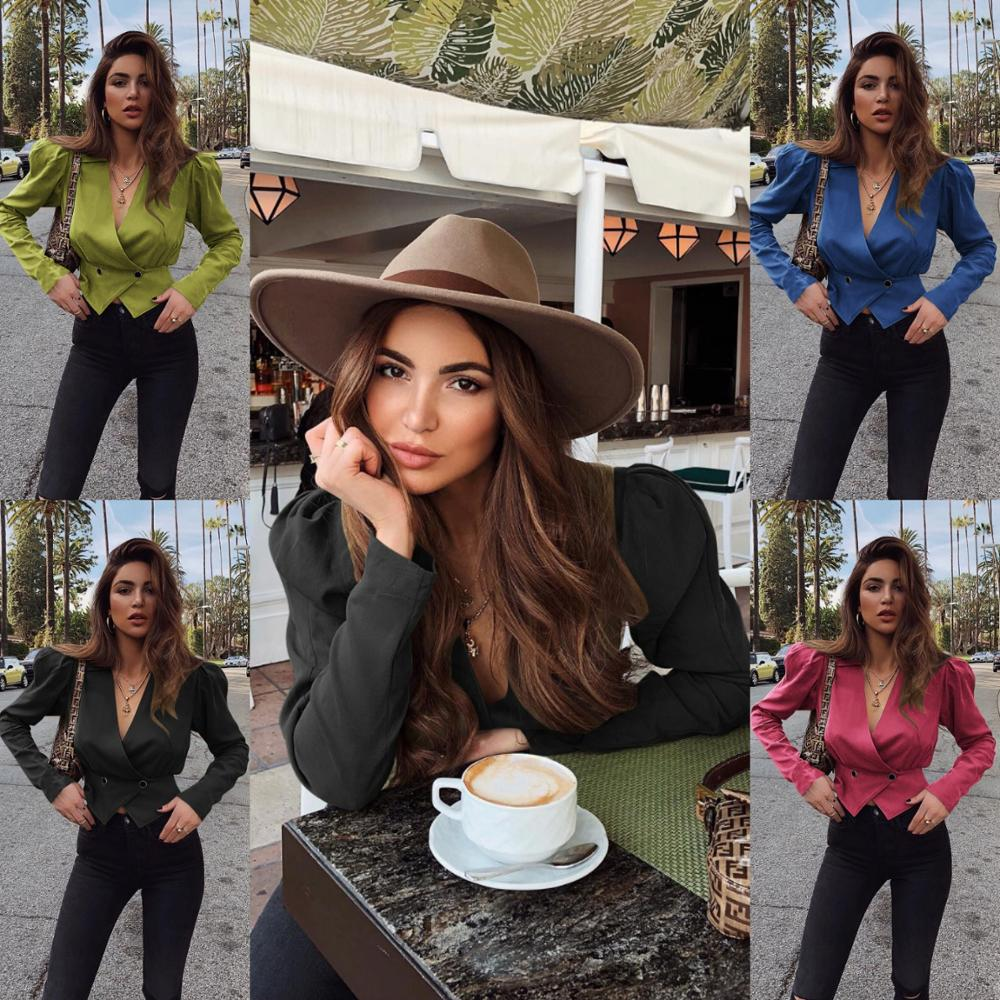 Hot style women's long sleeve small suit slim v-neck short jacket