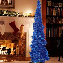 Green Pop Up Christmas Tinsel Tree With Stand Gorgeous Collapsible Artificial Christmas Tree For Christmas Decorations 1.2M 1.5M