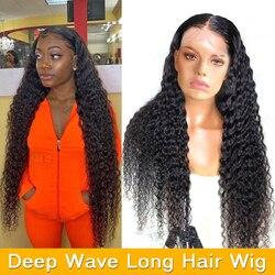 Парик с длинными волосами 30 дюймов, парик с глубокой волной на сетке спереди, парик с предварительно выщипанными бразильскими волосами спер...