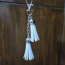 Серебряный кожаный брелок для ключей из искусственной кожи с
