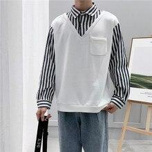 Autumn New Hoodie Men Fashion Hoody Striped Stitching Fake Two-piece Sweatshirt Man Streetwear Loose Hip Hop Hoodies M-2XL