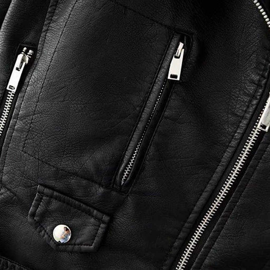 2018 осенние женские черные Тонкий Прохладный Женские Куртки из искусственной кожи милые женские на Молнии Искусственная женская верхняя одежда пальто плюс размер s-xxxl # J30