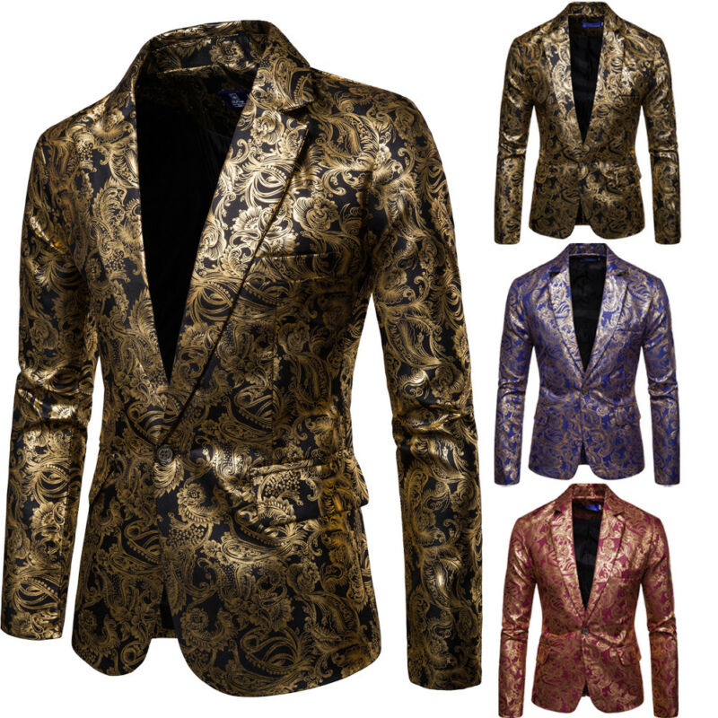 Goocheer Men Shawl Lapel Blazer Designs Plus Size Black Velvet Gold Flowers Sequins Suit Jacket DJ Club Stage Singer Clothes