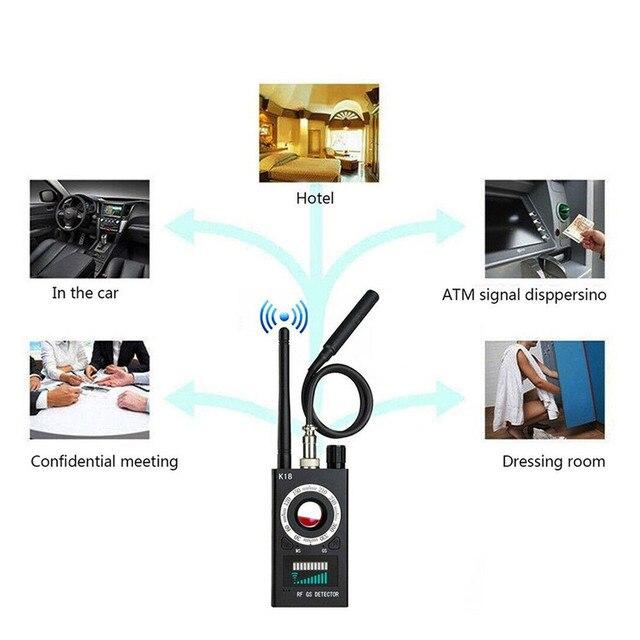 Anti Spy Wireless RF Signal Detector Camera GSM Audio Error Finder GPS Signal Lens RF Locator Tracker Detection 1MHZ-6.5GHZ K18 2
