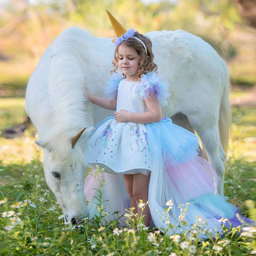 Halloween Fluffy Princess Girl Dress Gorgeous Backless Gown Wedding Long Dress Children Unicorn Theme Cosplay Costume 1