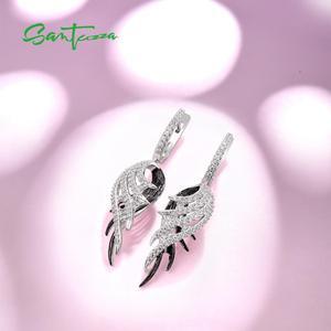 Image 4 - SANTUZZA כסף נוצת Drop עגילים לנשים 925 סטרלינג עגילי כסף שחור לבן נוצת תכשיטים
