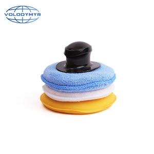 Image 3 - Volodymyr 왁스 패드 키트 3pcs 13cm 패드 세트 옐로우 블루와 화이트 포함 자동 케어 자세히 왁싱 자동차 청소 Carwash