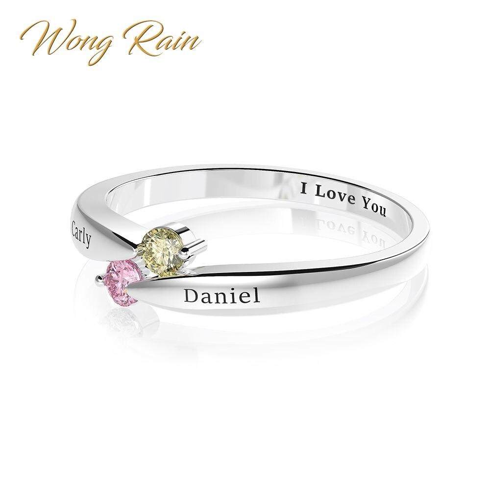 Wong Rain 100% 925 Sterling Silver Citrine Sapphire Gemstone Wedding Engagement Cocktail Anniversary Ring Fine Jewelry Wholesale