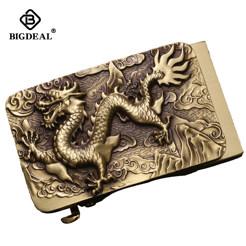 Vintage Men Belt Dragon Buckle Solid Brass Automatic Buckle Genuine Leather Belt For Men Waistband Jeans Casual Accessories Male