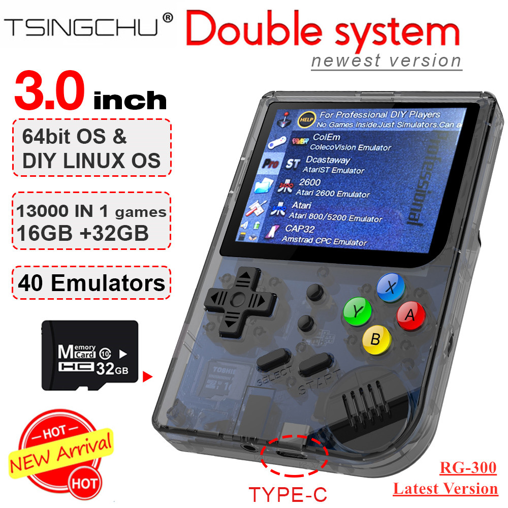 TSINGO RG300 RetroFW Linux Double System Retro Handheld Game Console 3.0 inch 30+ Emulators 13000+ Games DIY Video Game Player