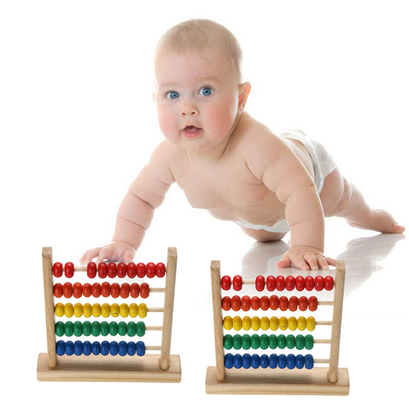 Mini Wooden Abacus Children Early Math Learning Toy Numbers Counting Calculating Beads Abacus Montessori Educational Toy(China)