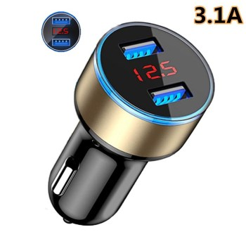 3.1A Dual USB Car Charger Adapter With LED Voltage/Current Display Universal Mobile Phone Car-Charger For xiaomi mi 8 max 3 Mobile Phone Accessories Smart Phones & Tablets Smartphones