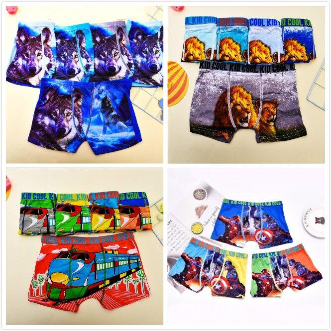 5pcs/lot Childrens Underwear Boxer Briefs Boy Underwear Kids Cartoon Underpants  Kids Lion Wolf Panties Underwear 2-9Y Panty 8