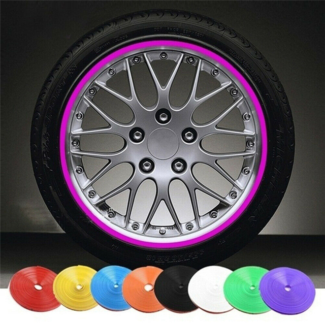 Car Accessories Universal 8M Car Sticker Decal Rim Rubber Strip Protection Color Car Tire Decorative Protector Car Styling TSLM2