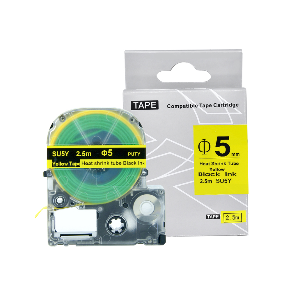 SU5Y for KingJim/Epson Label Tape 5mm Black on Yellow Heat Shrink Tube Label Tapes Compatible for KingJim/Epson Label Printer|tape textile|label clothing|tape wig - title=