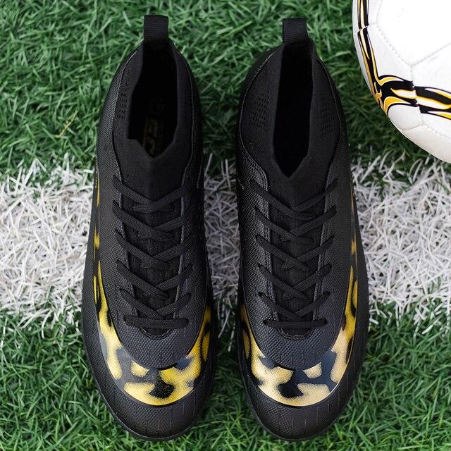 White Golden Men Football Boots High Ankle Soccer Shoe Women Soft Groud Man Trainer Gym Botas De Futbol Socks Cleats Training 6